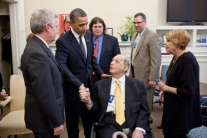 James Brady, center, meets with President Barack Obama in 2011 (photo courtesy Pete Souza - White House)