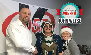 Winner John Weese with Scott & Mallory of the K-105.3 Morning Show