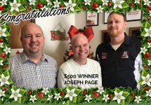 "Holiday Cash Hunt winner Joe Page with Jamie ""Big Dog"" McKibbin and ""Captain"" Steve Boyle"