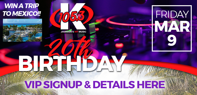 K-105.3 20th Birthday Party Sign-Up