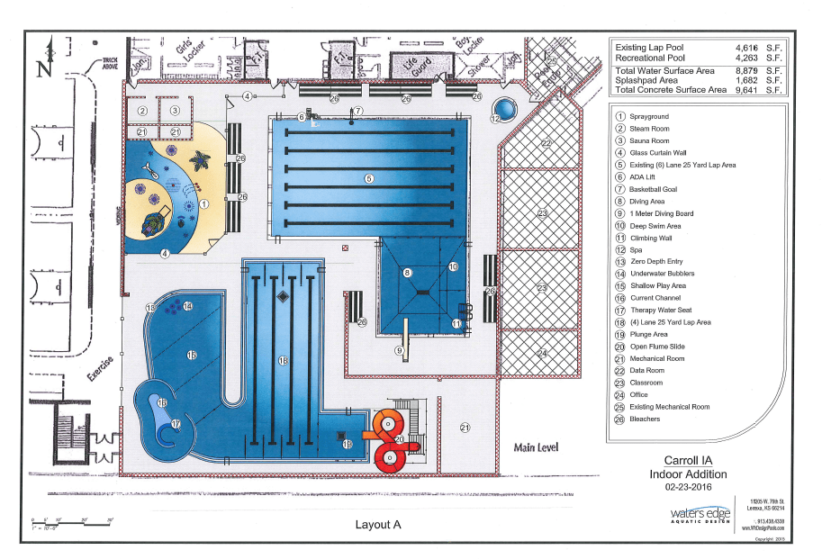 Indoor pool expansion proposed for carroll rec center for Swimming pool equipment layout