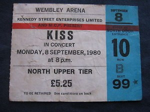 Kissrare-Ticketwembley-Arena-Sept-1980in-Very-Good-Condition