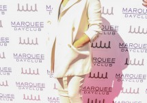 03/21/2015 - Sia - Kourtney Kardashian Hosts Season Preview at Marquee Dayclub in Las Vegas on March 21, 2015 - Marquee Dayclub at Cosmopolitan Hotel & Casino - Las Vegas, NV, USA - Keywords: Vertical, Nevada, Red Carpet Arrival, Preview, Arts Culture and Entertainment, Celebrities, Celebrity, Topix, Bestof, Musician, Sia Furler, blond wig hidden face, covering face, red hat, white jacket, white pants, grey blouse, singer, songwriter Orientation: Portrait Face Count: 1 - False - Photo Credit: PRN / PRPhotos.com - Contact (1-866-551-7827) - Portrait Face Count: 1