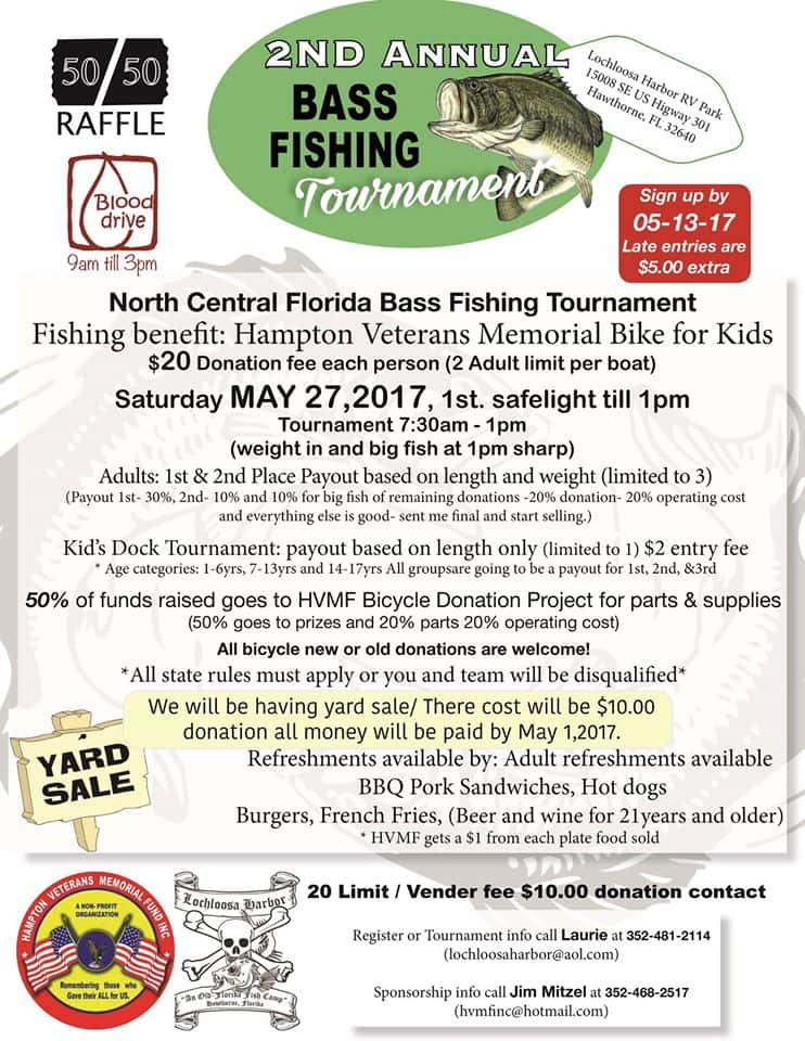 North central florida 2nd annual bass fishing tournament for Bass fishing tournaments in florida