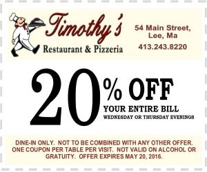 Timothy's 20% Coupon 300-250