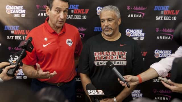 Duke and USA Basketball National Team head coach Mike Krzyzewski and UNLV head coach Marvin Menzies at Mendenhall Center on Thursday, July 21 (photo: Jeremy Rincon)
