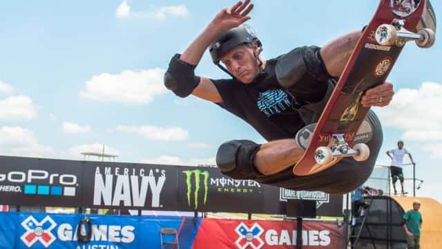 Austin, TX - June 3, 2015 - Circuit of The Americas: Tony Hawk during practice for Skateboard Vert at X Games Austin 2015 (Photo by Nick Guise-Smith / ESPN Images)