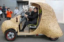 "Single-seat bamboo-made electrical car ""BamGoo"" is displayed in Kyoto city, western Japan, Sunday, Nov. 2, 2008.  The 60-kg ecologically-friendly concept car is developed by the city and the Kyoto University, featuring local bamboo ware technology. The car can run for some 50 kilometers (30 miles) on a charge.     (AP Photo/Kyodo News) ** JAPAN OUT MANDATORY CREDIT FOR COMMERCIAL SALE ONLY IN NORTH AMERICA **"