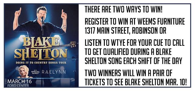 Blake Shelton Contest WTYE