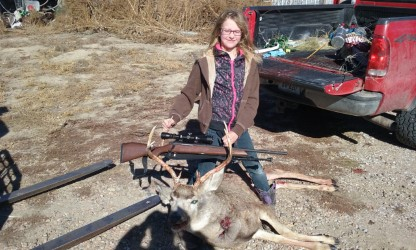 Bobbi Guggenmos of Ericson with Her first deer