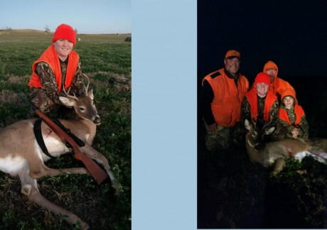 Jaren Burns' first buck. Shot November 12th. Garrett Burns, Jaren's dad; Garrison Burns, Jaren's brother; and Gerald Burns, Jaren's grandpa; were also hunting.