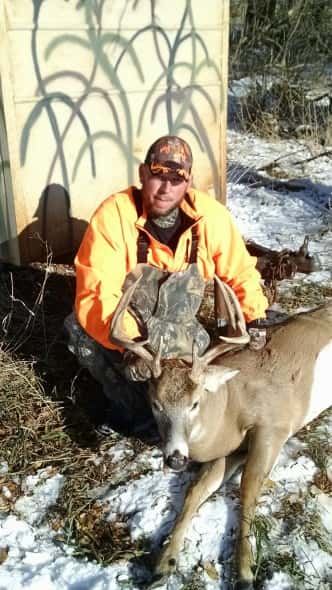 Ray Nemec with his 5 x 5 buck shot on grandpa's near Spencer