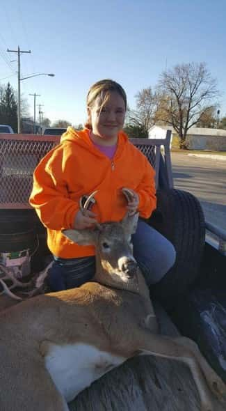 Alexa Schaaf with her nice 2×2 buck