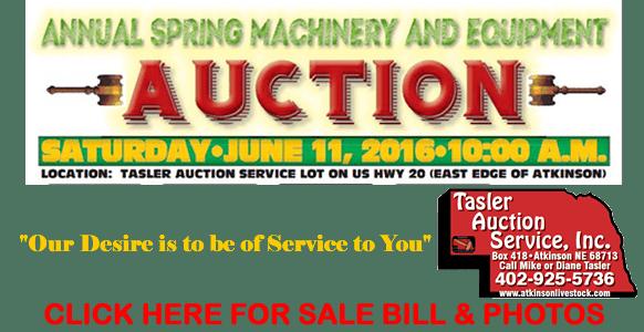 Tasler Spring Auction Ad