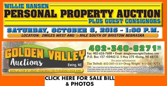 golden valley auction Oct 8 banner