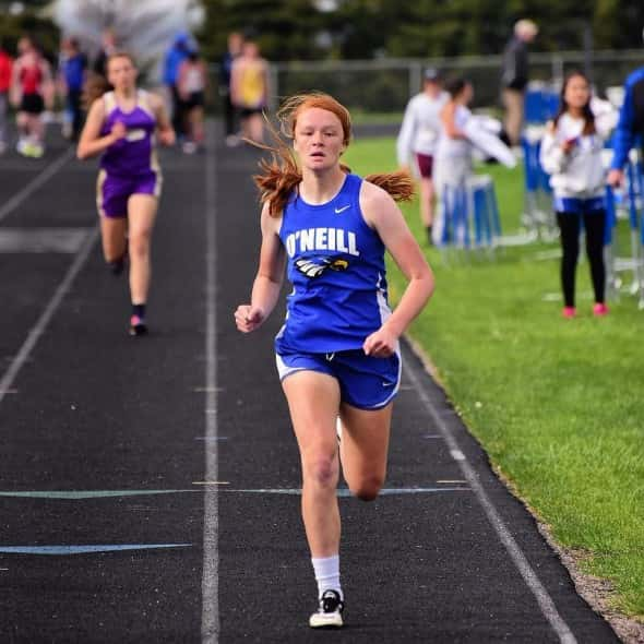 Claire Morrow competing in 400 at Pierce.  Picture courtesy Mike Peterson