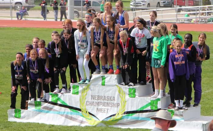 O'Neill Girls 4 x 100 M Relay Team at the top of the podium