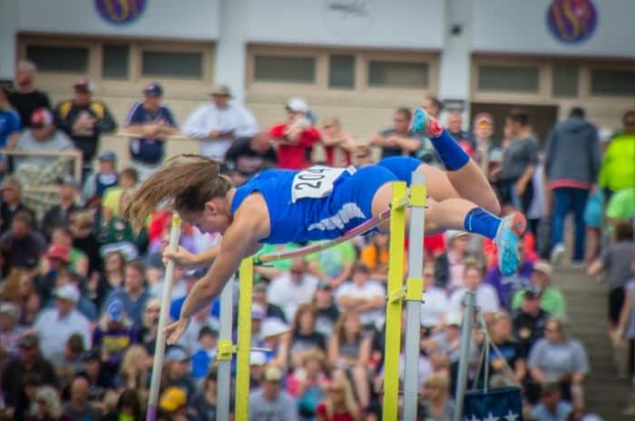 Mikayla Marvin competes in the Pole Vault  Picture courtesy Mike Peterson
