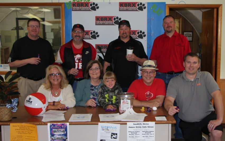 The Relay For Life Duck Callers front left to right Lauri Havranek, Paula Havranek, Gracie Treptow, George Holm and Cody Havranek. Back left to right Corey Fisher, Ron Anderson, Bill Alden and Josh Treptow