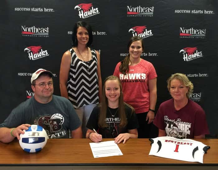Monique Schafer, Stuart, has signed with Northeast Community College to play volleyball this fall. She is pictured in the front row with her parents, Brant and Lori Schafer. Pictured in the back row (from left) Stuart head coach Teresa Mustin and Amanda Schultze, Northeast volleyball coach. (Courtesy Northeast Community College)