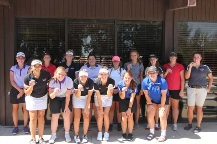 The top 15 individual golfers in the O'Neill Girls Golf Invite: Back Row, L-R (1st Place Taylor Finke:Battle Creek, 2nd Place Chelsey Reifert:Norfolk Catholic , 3rd Place Cassidy Ulrich:Cedar Catholic, 4th Place Olivia Zlomke:Battle Creek, 5th Place Nikki Gotschall:O'Neill, 6th Place Molly Knake: Norfolk Catholic, 7th Place Tory Tammen:Crofton, 8th Place Emily Teten: Norfolk Catholic, 9th Place Nicole Zavadil: Crofton) Front Row, L-R, (10th Place Brandy Wiebelhaus: Cedar Catholic, 11th Place Dannica Chrisman: Battle Creek, 12th PlaceIreland Biltoft: Cedar Catholic, 13th Place Ashley Heine: Cedar Catholic, 14th Place Amber Albrecht: Pierce, 15th Place Megan Bilstein: West Holt)