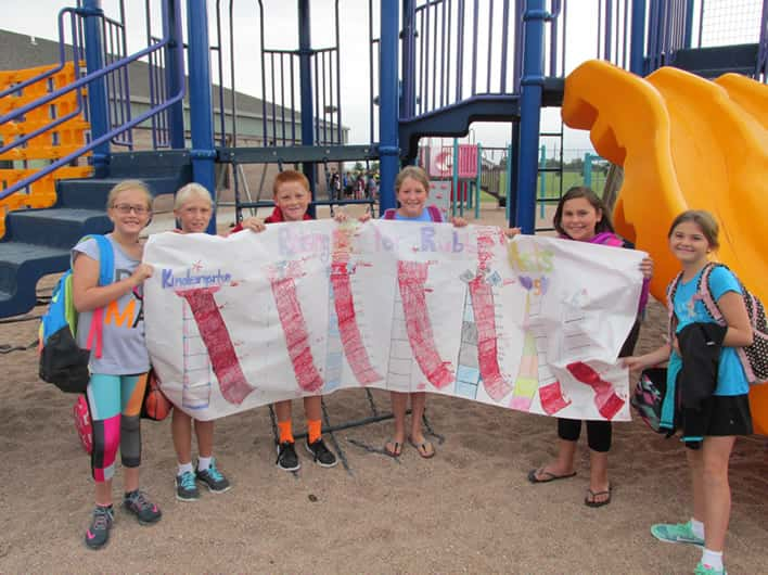 The students of O'Neill Elementary ((left to right) Preslie Robertson, Autumn Hilker, Drew Morrow, Bethany Owens, Keeley Chavez, Annie Corkle) showing off the profits they raised during the 2016-2017 school year