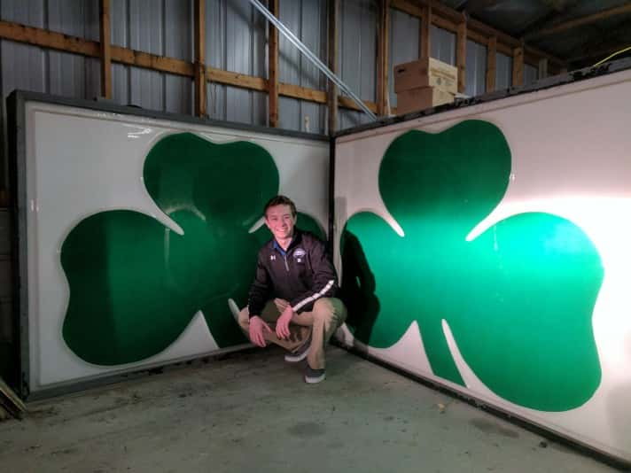 Micahel Poese with his two Shamrock signs.