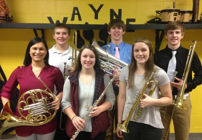 Front row (left to right): Alexa Dougherty, Sydney Zahn, and Caleigh Miles Row 2: Christopher Jennings, Corbin Dean, and Kolby Dean