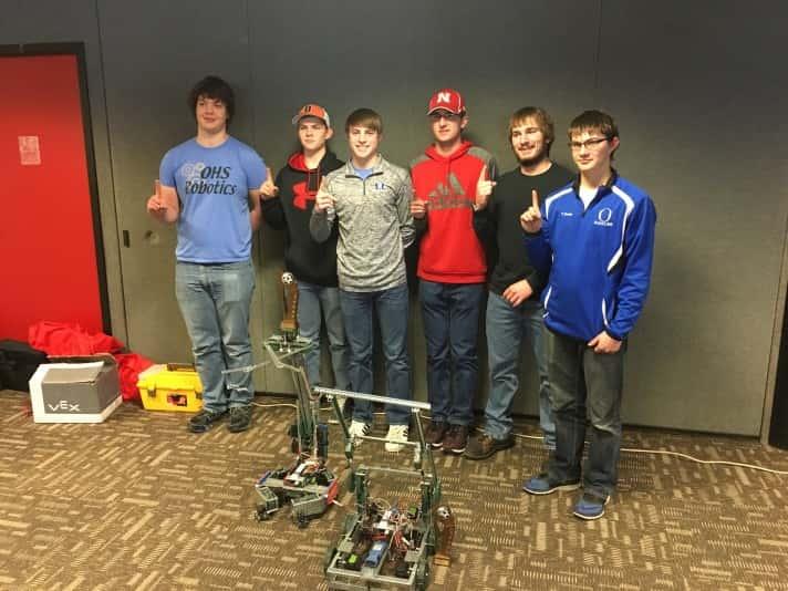 O'Neill Robotics Team (let to right) Ezra Bailey Kelly, Justin Beeks, Jared Hammerlun, Nathanial Jennings, Heydon Strope & Tyler Beeks