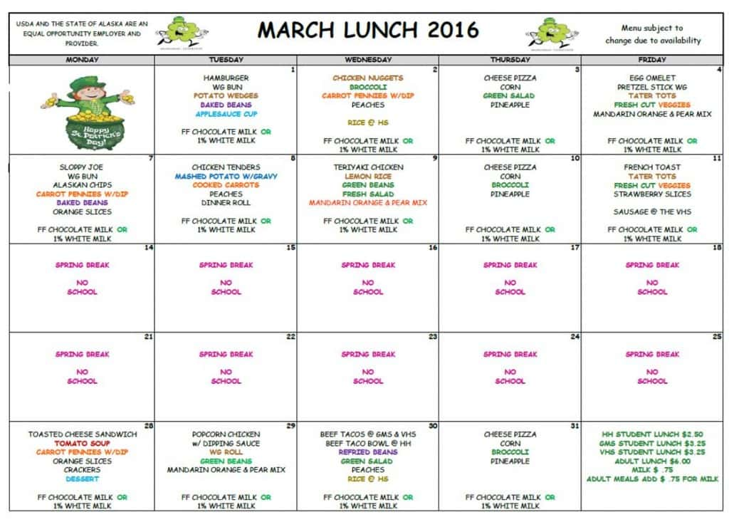 March 2016 Lunch