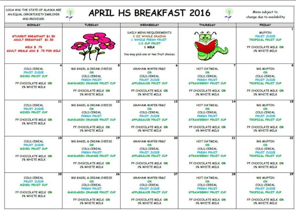 VHS April Breakfast Menu '16