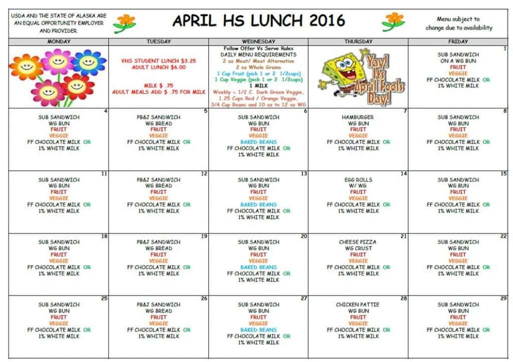 VHS April Lunch Menu '16