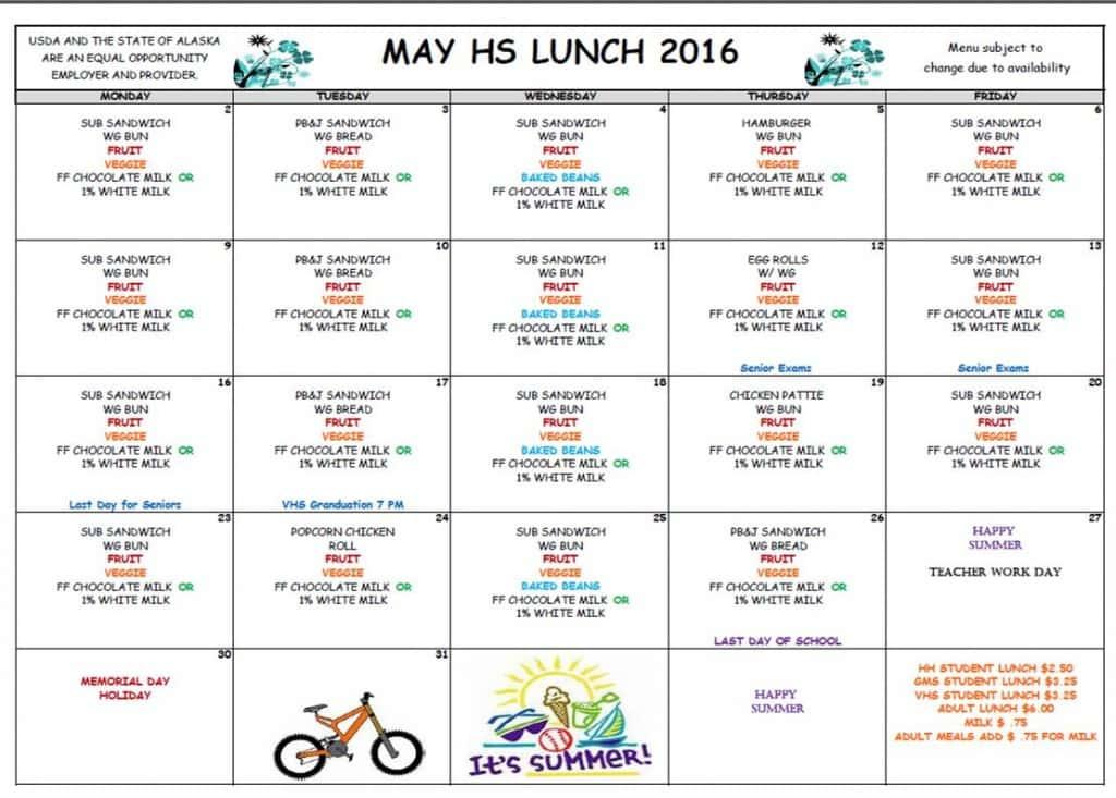 VHS May Lunch Menu '16