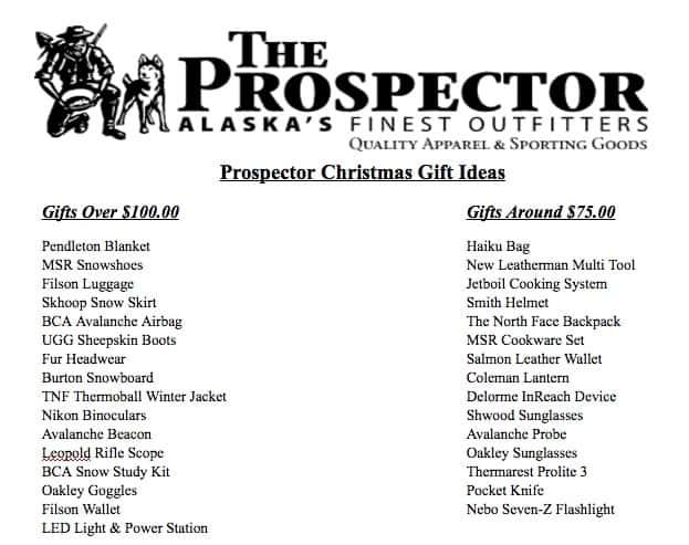 Prospector Gift Ideas 1