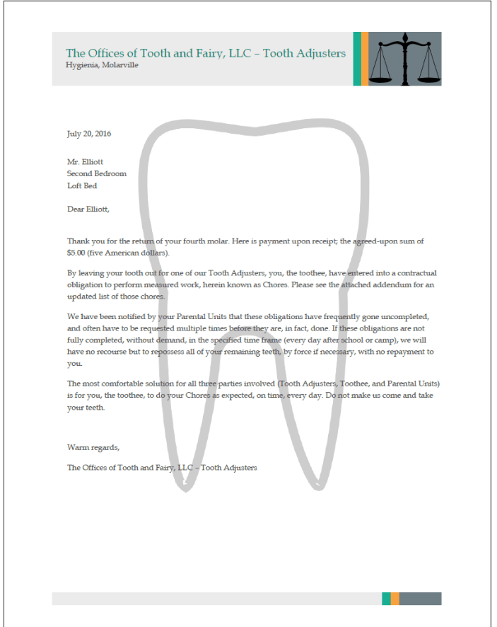 TOOTH FAIRLY LETTER