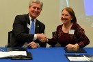 Left:Northwood University President Keith A. Pretty Right:St. Clair County Community College President Deborah Snyder
