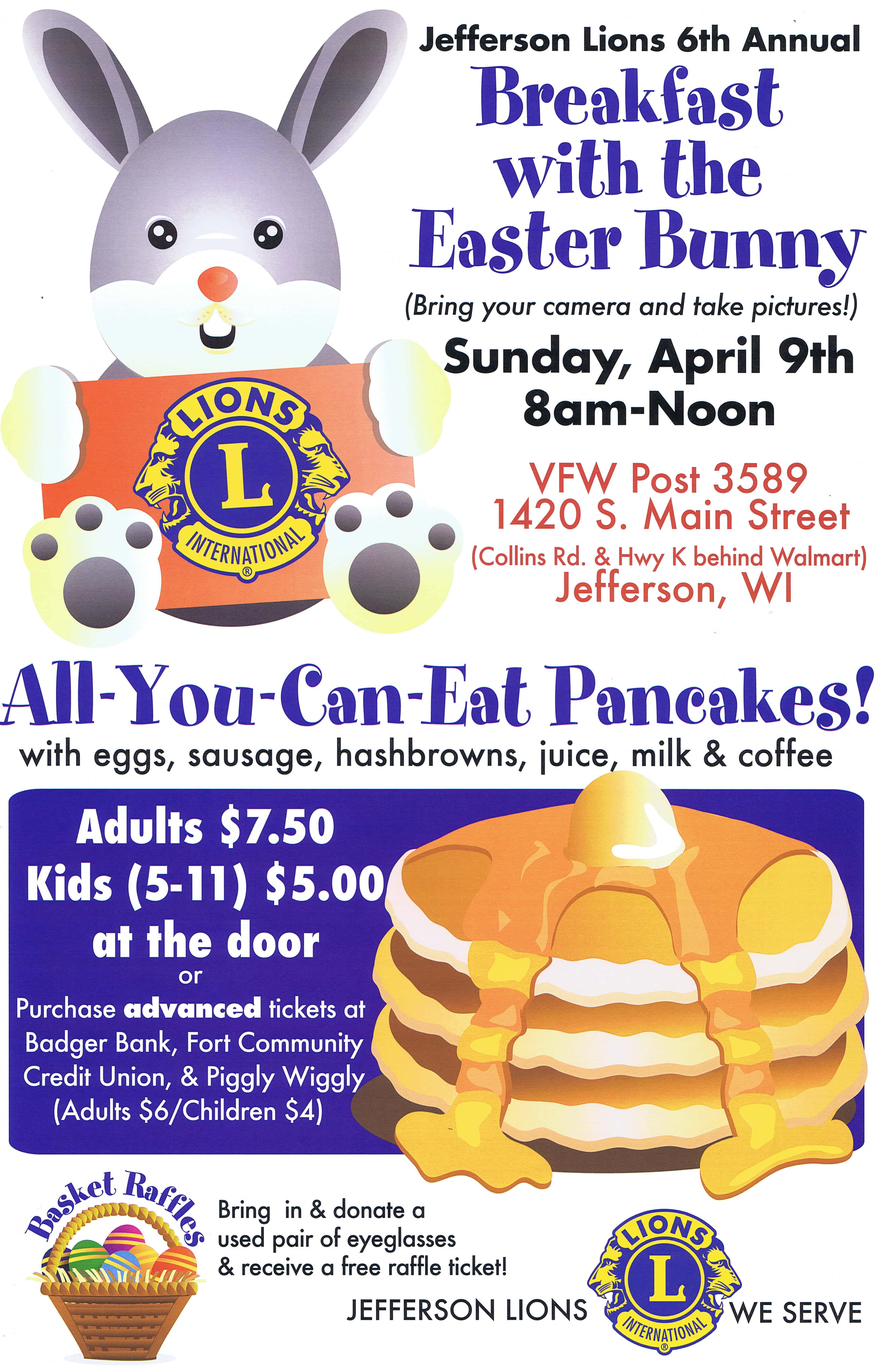 jefferson lions club 6th annual breakfast with the easter bunny wjvl