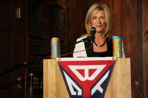 Port Huron mayor Pauline Repp discusses the partnership between the Bell's Beer Bayview Mackinac Race and the city's Blue Water Fest during Tuesday's media luncheon at Bayview Yacht Club in Detroit. Photo by Bob Benko.