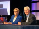 Ontario Premier Kathleen Wynne and Michigan Governor Rick Snyder pose for a photo following the signing of the Memorandum of Understanding.
