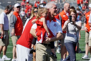 Kerry Coombs with family after the game