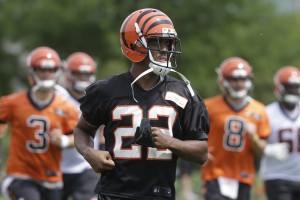 Cincinnati Bengals cornerback William Jackson (22) participates in NFL football practice, Tuesday, May 31, 2016, in Cincinnati. (AP Photo/John Minchillo)