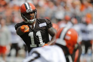 Cleveland Browns wide receiver Terrelle Pryor plays in their orange and brown scrimmage at the NFL football team's training camp Saturday, Aug. 6, 2016, in Columbus, Ohio. (AP Photo/Jay LaPrete)