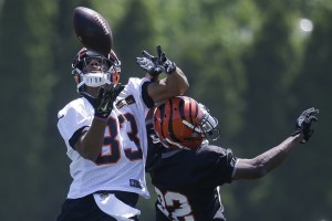 Cincinnati Bengals cornerback William Jackson (22) breaks up a pass to wide receiver Tyler Boyd during NFL football practice, Tuesday, May 24, 2016, in Cincinnati. (AP Photo/John Minchillo)