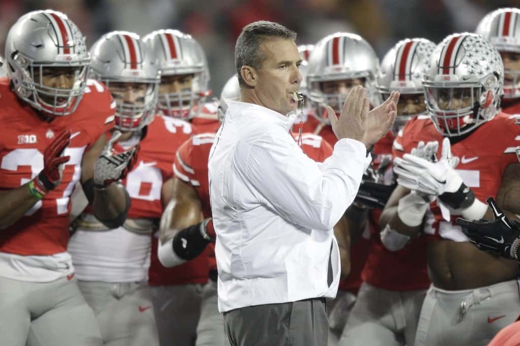 Ohio State head coach Urban Meyer during an NCAA college football game against Minnesota Saturday, Nov. 7, 2015, in Columbus, Ohio. (AP Photo/Jay LaPrete)