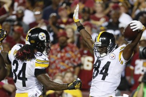 Pittsburgh Steelers wide receiver Antonio Brown (84) celebrates his touchdown with running back DeAngelo Williams (34) during the first half of an NFL football game against the Washington Redskins in Landover, Md., Monday, Sept. 12, 2016. (AP Photo/Alex Brandon)