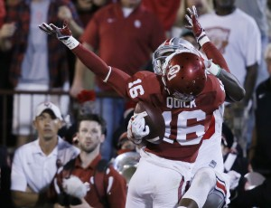 Ohio State wide receiver Noah Brown, rear, grabs a pass for a touchdown as Oklahoma's Michiah Quick (16) defends during the second quarter of an NCAA college football game in Norman, Okla., Saturday, Sept. 17, 2016. (AP Photo/Sue Ogrocki)