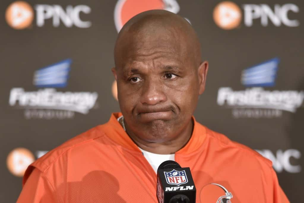 Cleveland Browns head coach Hue Jackson speaks to the media during a news conference after an NFL football game, Sunday, Sept. 18, 2016, in Cleveland. The Ravens won 25-20. (AP Photo/David Richard)