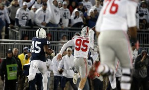 Penn State's Grant Haley (15) runs back a blocked field goal for a touchdown during the second half of an NCAA college football game against Ohio State in State College, Pa., Saturday, Oct. 22, 2016. Penn State won 24-21. (AP Photo/Chris Knight)