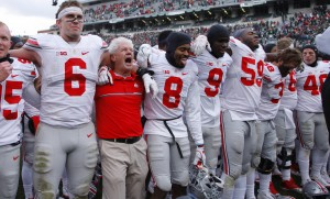 Ohio State players celebrate following a 17-16 win over Michigan State in an NCAA college football game, Saturday, Nov. 19, 2016, in East Lansing, Mich. (AP Photo/Al Goldis)