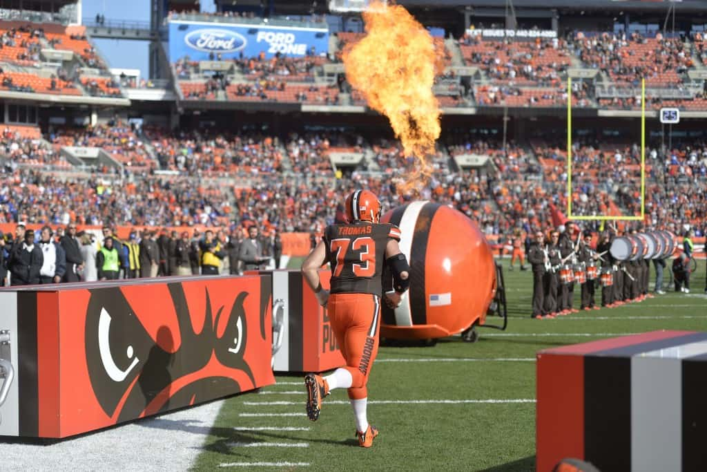 Cleveland Browns tackle Joe Thomas (73) runs on the field before an NFL football game against the New York Giants, Sunday, Nov. 27, 2016, in Cleveland. The Giants won 27-13. (AP Photo/David Richard)